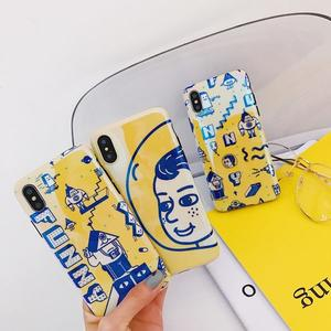 iPhoneX手機殼 可掛繩 藍光鮮黃搞怪大頭 矽膠軟殼 蘋果iPhone8X/iPhone7/6Plus