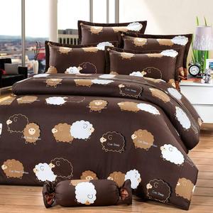 台灣製-綿羊噗噗 單人(3.5x6.2呎)五件式鋪棉床罩組-深咖啡[艾莉絲-貝倫]T5H-6971-CF-S