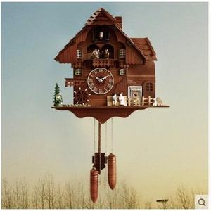 凱樂絲光控音樂報時布穀鳥鐘咕咕鐘錶歐式黑森林實木客廳田園掛鐘