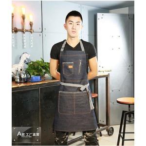 韓版時尚日式歐式 牛仔圍裙 廚房工作圍裙訂製LOGO店名