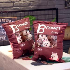 一大袋零食抱枕韓國布朗熊可妮兔小公仔玩偶暖手超萌布娃娃玩偶女