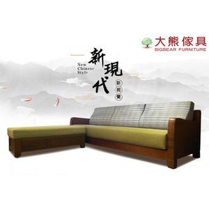 【大熊傢俱】162 L型 布沙發 柚木沙發 實木組椅 轉角沙發 木製沙發 貴妃沙發 原木長椅 L型沙發