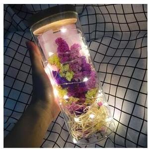 【彩色】LED燈滿天星乾花花束玻璃瓶擺件閨蜜永生花真禮盒diy聖誕生日禮物