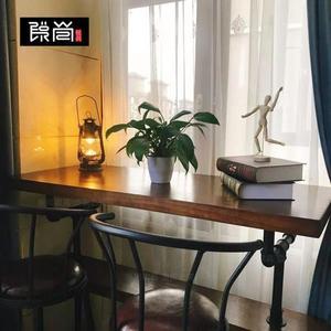 吧台桌 美式loft實木水管吧台桌椅組合復古高腳桌工業風靠墻鐵藝家用吧台 享購