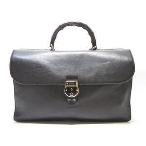 GUCCI 古馳  黑色牛皮竹節手提包 公事包 Bamboo Briefcase 271572 【BRAND OFF】