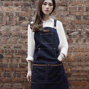 高端圍裙訂製LOGO店名牛仔圍裙 咖啡師烘焙美容美甲畫畫花藝紋身工作服