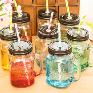 ►全區69折►梅森瓶 梅森杯  漸變彩色玻璃瓶 果汁瓶 飲料透明帶蓋杯子【D2008】