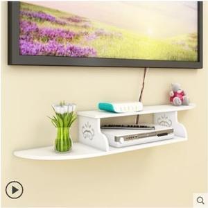 客廳墻上電視機頂盒置物架免打孔 臥室機頂盒架壁掛 背景墻裝飾架 最後一天85折