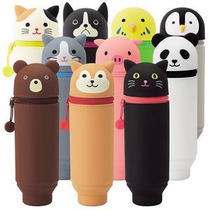 【金玉堂文具】LIHIT LAB PuniLabo 矽膠 動物造型伸縮筆盒 直立 伸縮 筆筒 (小)