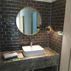 (交換禮物)歐式浴室鏡 圓鏡 化妝鏡 圓形浴室鏡 壁掛衛生間鏡子 鐵藝鏡