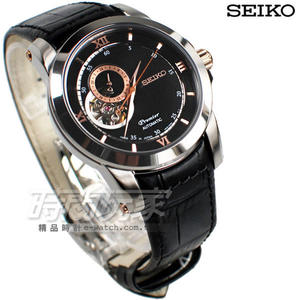 SEIKO 精工錶 Premier 24小時顯示開芯機械錶 真皮 皮帶 男錶 黑色 SSA324J1 4R39-00P0C 鏤空機械錶