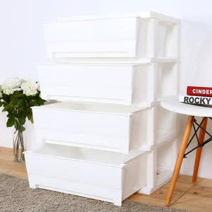 【HOUSE】大面寬-夏日超大四層玩具衣物收納櫃(多色可選)白色