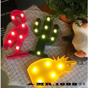 多款韓國LED造型燈 火鶴/鳳梨/ 仙人掌 粉紅鶴閃亮燈 兒童房間店鋪裝飾檯燈 小夜燈【Mr.1688先生】