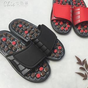 按摩拖鞋穴位腳底按摩鞋男女家居涼拖鞋養生仿鵝卵石按摩拖鞋「七色堇」