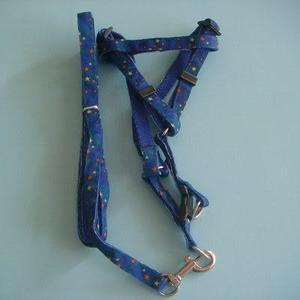 1.0貼布小型狗狗鍊+胸帶(藍色)/頸圈 /項圈/牽繩/寵物用品