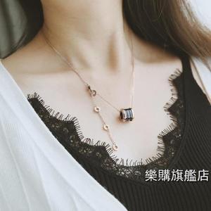 項鍊鈦鋼玫瑰金陶瓷圓柱彈簧項鍊短版鎖骨鍊女不褪色正韓