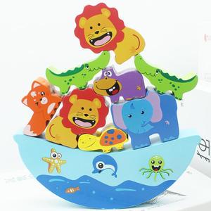 交換禮物-兒童木質動物平衡親子1-2-3-4周歲男孩女寶寶認知益智疊疊樂積木