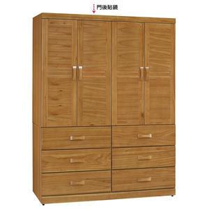 【森可家居】艾莉絲柚木5X7尺衣櫥 8SB119-5 衣櫃木紋質感 實木 無印鄉村風