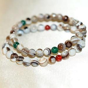 【喨喨飾品】白色天眼珠/瑪瑙 手鍊  藏密七寶之一,亦佛教之聖物 A597