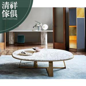 【新竹清祥傢俱】PLT-34LT01-現代輕奢石面圓茶几 輕北歐 設計風 後現代 不鏽鋼 石面 小法式 客廳