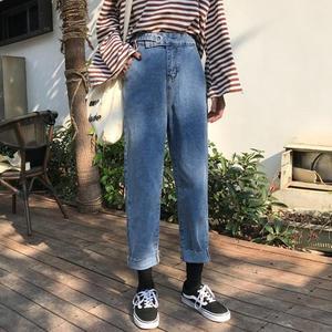 牛仔褲迷你同款牛仔褲女春秋好康推薦正韓寬鬆顯瘦高腰初戀褲學生寬褲