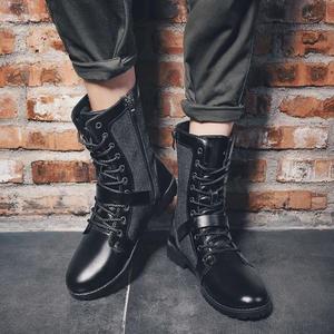 防滑長筒靴男社會小伙子鞋馬丁靴春防水英倫靴男軍官靴透氣馬靴男  LN1042  【極致男人】