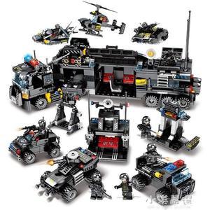 兼容樂高積木男孩子益智力拼裝軍事特警汽車6兒童7警車8玩具9歲10CY『小淇嚴選』