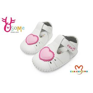 寶寶學步鞋 真皮鞋墊 吸汗防臭 台灣製 天鵝CHA CHA TWO寶寶鞋F3030#白◆OSOME奧森鞋業