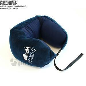 〔小禮堂〕史努比 造型可收納絨毛U型頸枕《深藍.趴姿》玩偶娃娃.午安枕.靠枕 4945571-24574