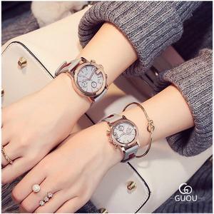 GUOU彩帶皮革拼接石英日曆錶 情侶錶(女)GU9143 (購潮8)