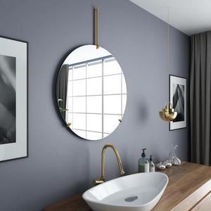 化妝鏡北歐浴室鏡圓形衛生間鏡子ins風壁掛鐵藝創意客廳洗手間梳妝鏡-凡屋FC