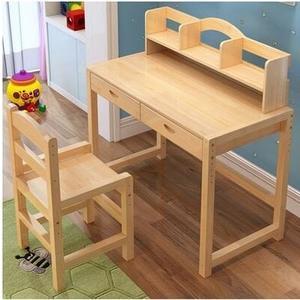 實木兒童學習桌可升降兒童書桌小學生寫字桌椅套裝松木家用課桌椅ATF 三角衣櫃