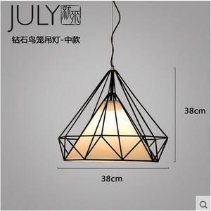 美術燈 北歐現代餐廳吊燈簡約工業風創意鳥籠loft藝術鑽石鐵藝吧台燈(中號)-不含光源