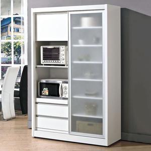 【森可家居】羽田4尺白色鋁框推門餐櫃 8JX500-1 收納廚房櫃 碗盤碟櫃 簡約北歐風