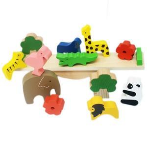 日系木製 動物平衡 積木/一盒入{促450} 桌遊 趣味平衡木玩具~YF15824