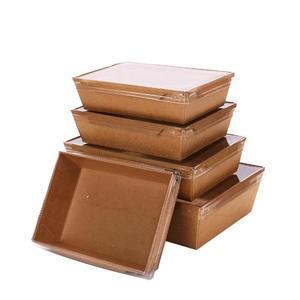 春季上新 一次性餐盒牛皮紙打包盒外賣壽司沙拉盒環保便當盒100只