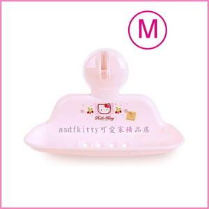 asdfkitty可愛家☆KITTY吸盤式肥皂架/M號-香皂盤-亮草莓版-可放菜瓜布-韓國製