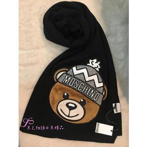 【京之物語】MOSCHINO正版經典小熊玩偶圖案混羊毛黑色針織圍巾(現貨)-超值優惠價