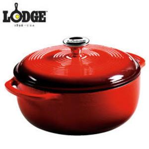 丹大戶外【LODGE】EC4D43 Enamel 4.6QT 琺瑯鑄鐵鍋 荷蘭鍋/平底煎鍋/造型模具 紅