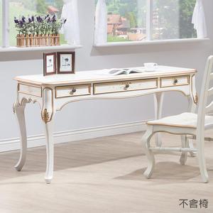 【森可家居】伊麗莎白歐式4.5尺書桌(不含椅) 8HY484-04 兼化妝檯 歐式仿舊鄉村風 法式古典公主