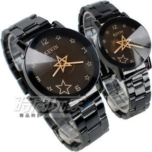 KEVIN 轉動星辰 造型時尚流行錶 立體多角切割鏡面 IP黑電鍍 男錶 女錶 對錶 KV2068星黑大+KV2068星黑小