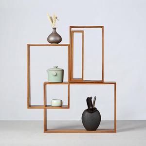 創意竹制茶棚茶架置物架展示架 中式茶具博古架茶器茶壺茶杯架子