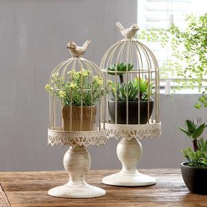 燭台法式鄉村凡爾賽做舊鐵藝白色歐式鳥籠蠟燭台 家居裝飾品工藝擺件