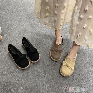 娃娃鞋秋季復古森系大頭鞋女蝴蝶結圓頭娃娃鞋厚底鬆糕日系單鞋 芊墨左岸