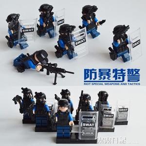 樂高警察特種兵軍事人仔武器吃雞小人偶公仔絕地求生拼裝積木玩具  露露日記