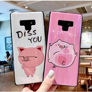 三星 Note8/Note9 粉紅小豬手機殼 卡通可愛潮牌手機套 S8/S9 Plus 極光個性保護套 新款創意保護套