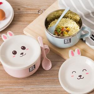 【03766】雙層兔子泡麵碗 附湯匙 不鏽鋼 防燙 盤子