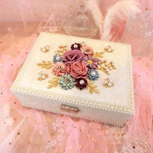 創意花朵首飾盒正韓歐式宮廷首飾盒雙層木質珠寶飾品盒首飾收納盒 三角衣櫃