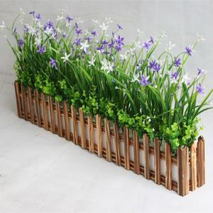 仿真綠色植蘭花草碳化柵欄假花塑料花桌面隔斷擺放花藝牆角遮擋【全館免運】