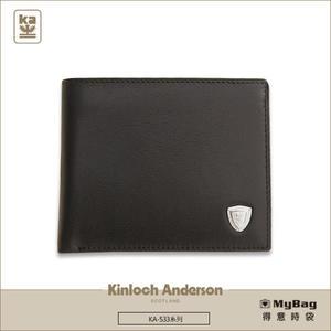 Kinloch Anderson 金安德森 皮夾 單色優質男 黑色 牛皮短夾 左右翻短夾  KA53304  MyBag得意時袋